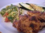 BBQ CHICKEN WITH ROASTED CORN SALAD AND GRILLED ZUCCHINI
