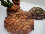 BRINED PORK CHOP WITH BACON WRAPPED ASPARAGUS AND GRILLED ONION