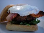 BREAKFAST BURGER WITH BACON, ARGULA AND A RUNNY EGG ON A FRESH GROUND PATTY