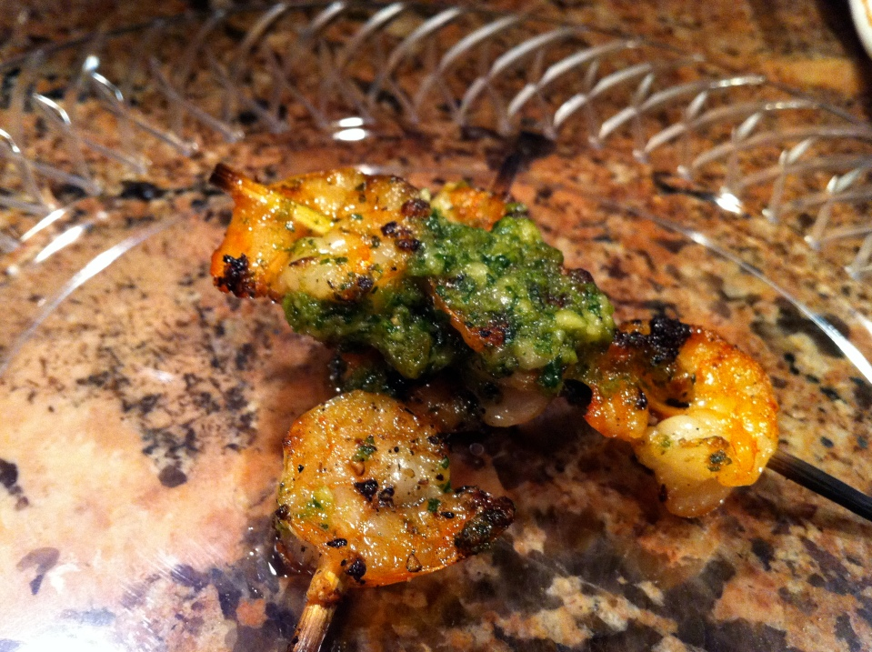 GRILLED SHRIMP SKEWERS WITH ROASTED JALEPENO PESTO