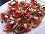 SMOKED SALMON CROSTINI WITH CAPERS AND CREME FRAICHE